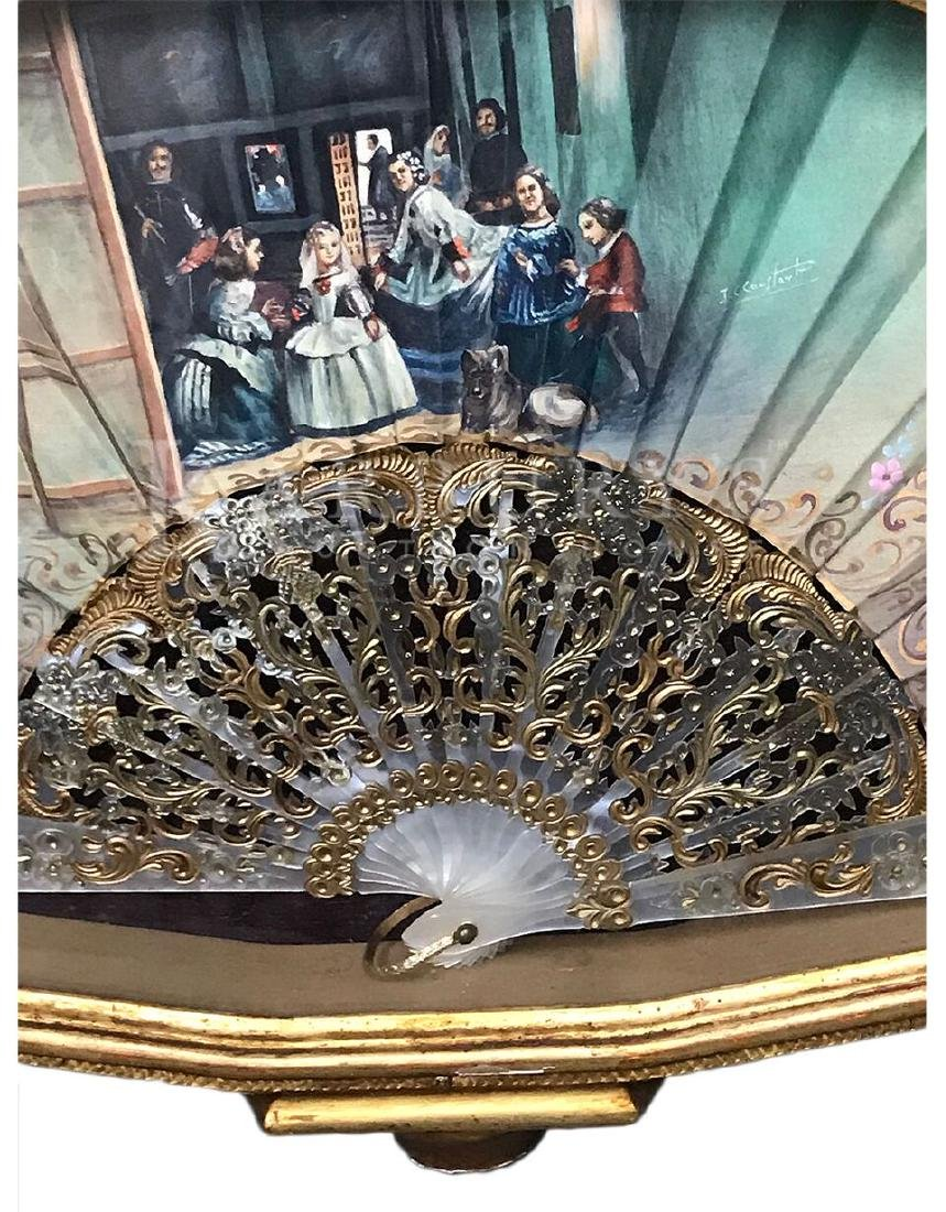 A Hand Painted Silver Gilt Hand Fan - 2
