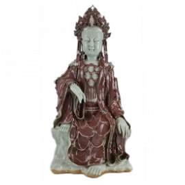 A Ming Style Underglazed Red Seated Bodhisattva