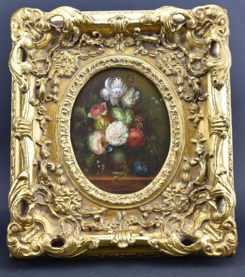 ANTIQUE FLORAL STILL LIFE, OIL ON CANVAS, IN ORNATE