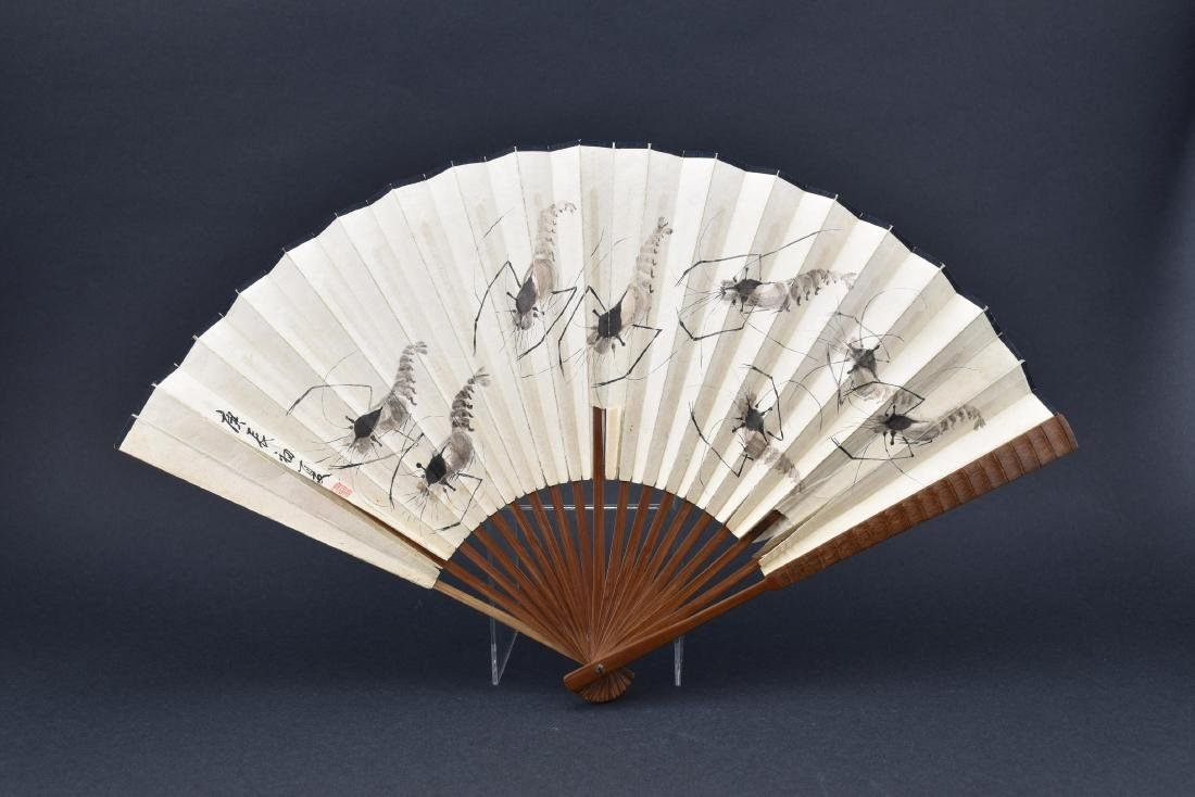 Chinese Fan Painting with Calligraphy
