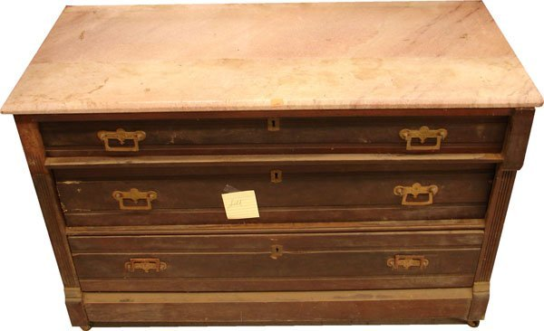 407: 3 drawer dresser/chest with marble top