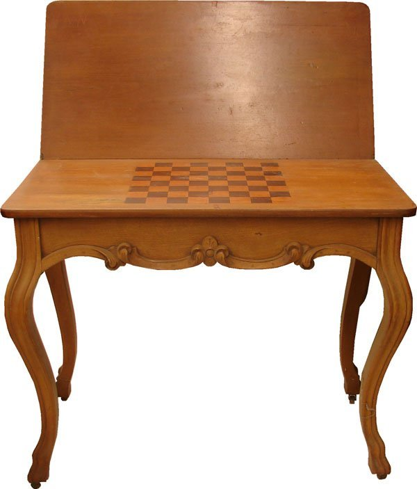 421: French game table Rosewood inlaid checker board