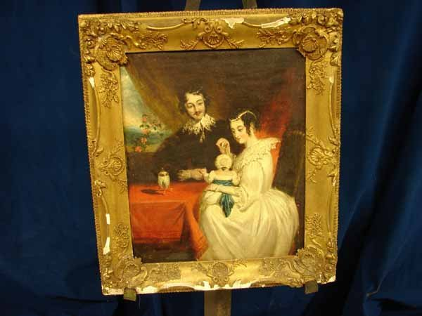 464: Oil on board - Early American Family Portrait