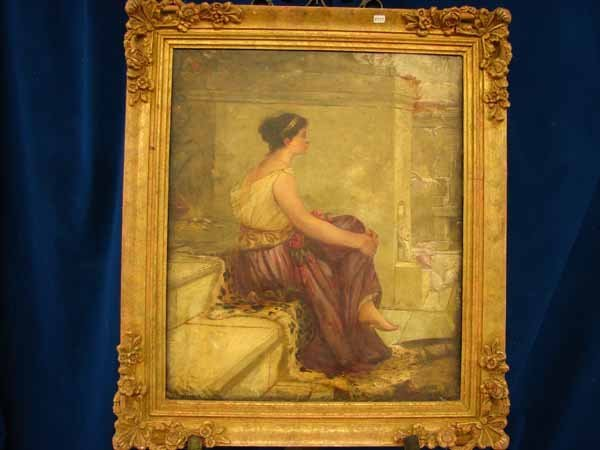 571: Oil on canvas - woman with leg crossed- Signed