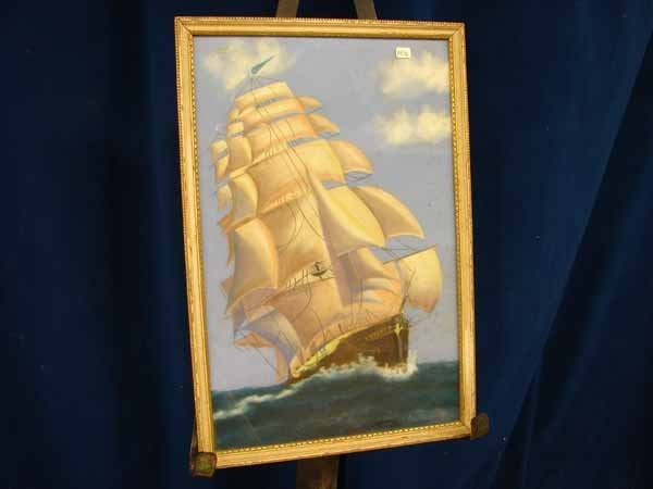 805: pastel ship with large sails