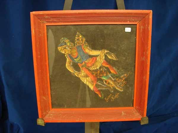 816: P 641 painting on cloth, signed