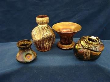 1163: 4 items, vase, Northwoodpunch bowl base, candle h