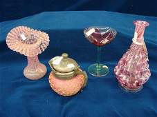 1186: 4 items, vases, glass, pitcher