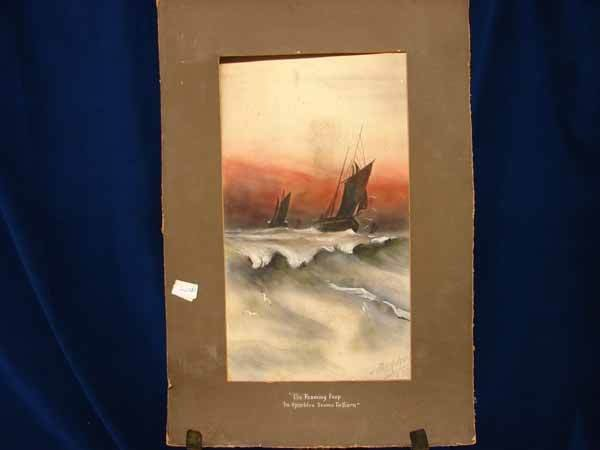 2012: Watercolor of Sailboats - by J. Parkinson 1920 (2
