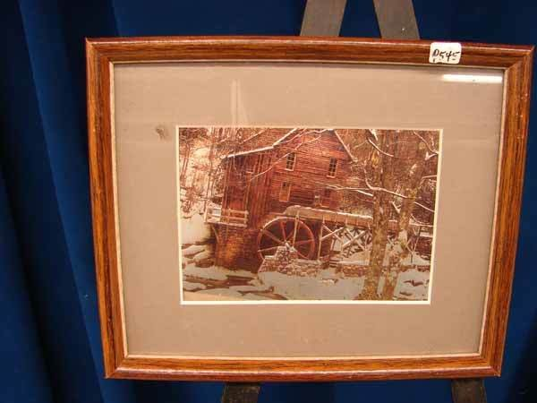 "2021: Print, ""Old Mill"", matted and framed, (9""h x 11""w"