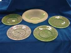 "2402: 5 items, 4 signed Daum Nancy plates 8""D, Green sa"