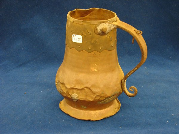 2502: Copper and brass mug, missing lid