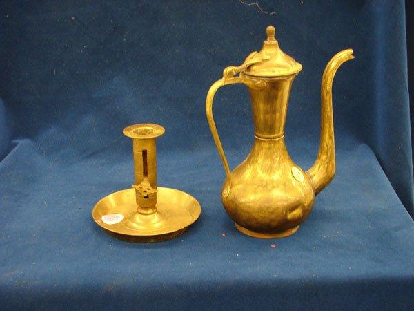 """2507: 2 pcs, Brass Ewer (10""""), Brass Candle Stick"""