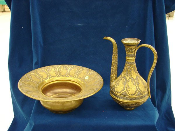 2508: 2 pcs, 19th Century Brass and Silver Metal Ewer a