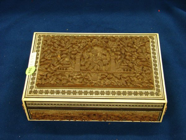 2514: Asian Work Box w/carved wood panel and ivory fram