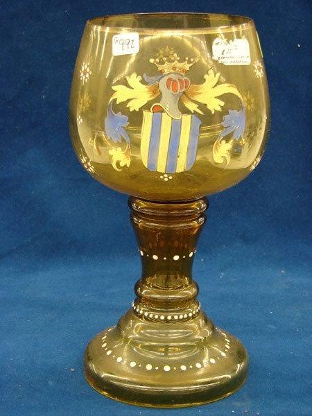 2518: 3 pcs, Amber glass vase,w/coat of arms,shape of c
