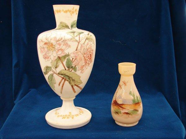 "2522: 2 pcs, Handpainted Bristol Vase (13 1/2"" tall), B"