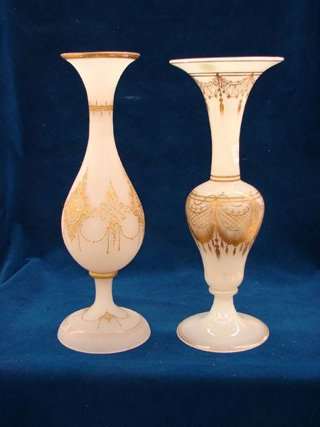 "2523: 2 pcs, Czechoslovakian Art Glass Vase (13 3/4"" ta"