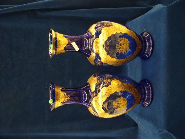 2866: 2 items: Matching vases, blue with gold color des