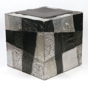 PAUL EVANS ARGENTE CUBE SIDE TABLE