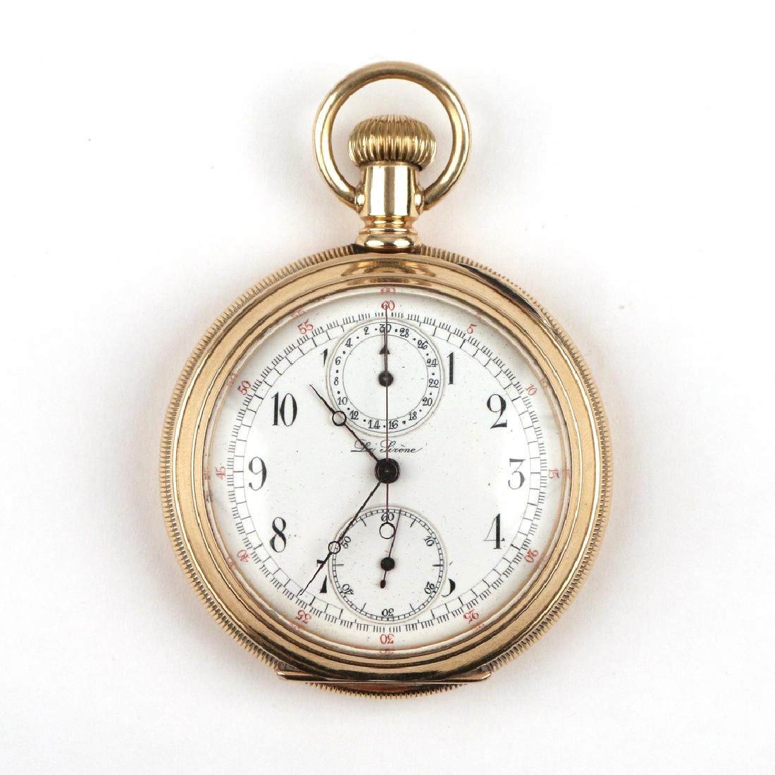SWISS 'LA SIRENE' GOLD CHRONOGRAPH POCKETWATCH