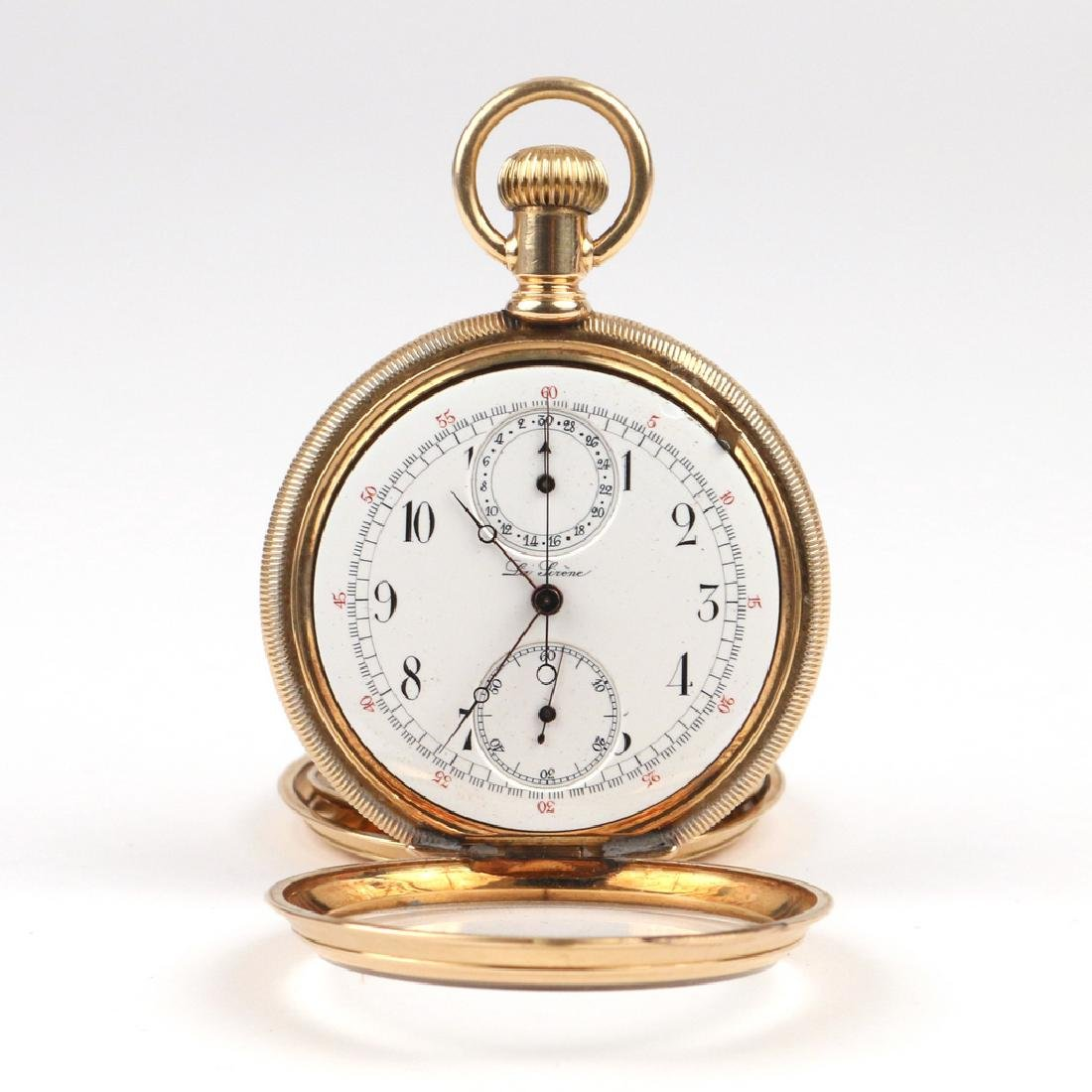 SWISS 'LA SIRENE' GOLD CHRONOGRAPH POCKETWATCH - 4