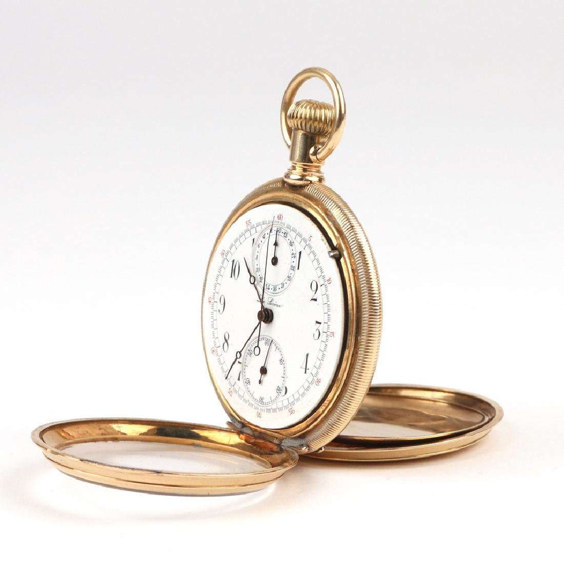 SWISS 'LA SIRENE' GOLD CHRONOGRAPH POCKETWATCH - 5