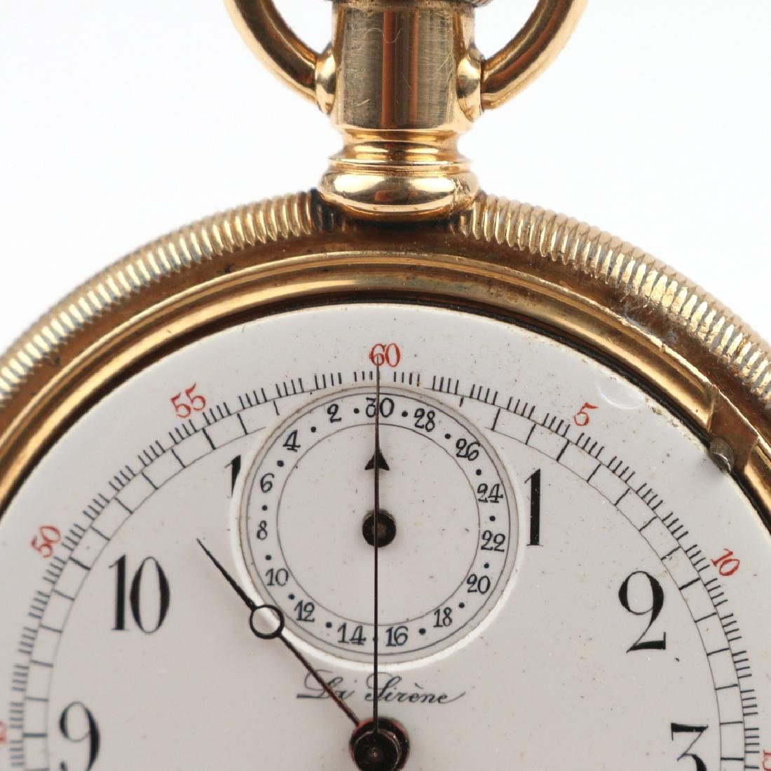 SWISS 'LA SIRENE' GOLD CHRONOGRAPH POCKETWATCH - 7