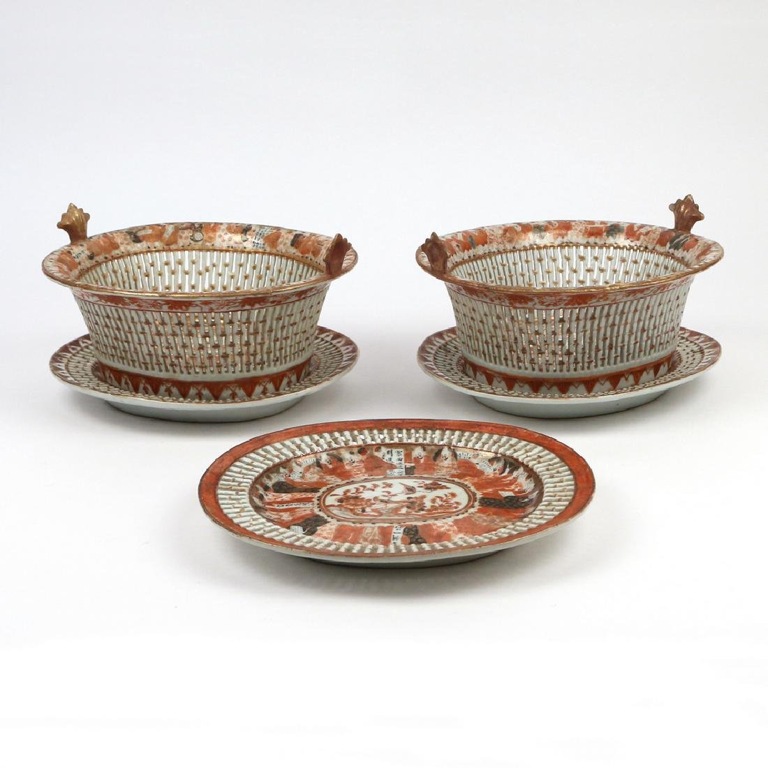 (5pc) PAIR RARE CHINESE EXPORT CHESTNUT BASKETS