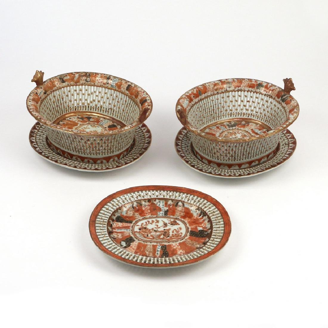 (5pc) PAIR RARE CHINESE EXPORT CHESTNUT BASKETS - 4