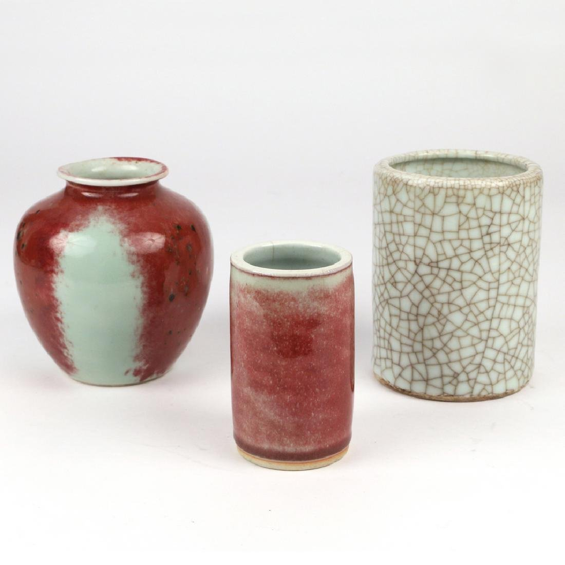 (3pc) CHINESE PEACHBLOOM & GE-TYPE PORCELAIN
