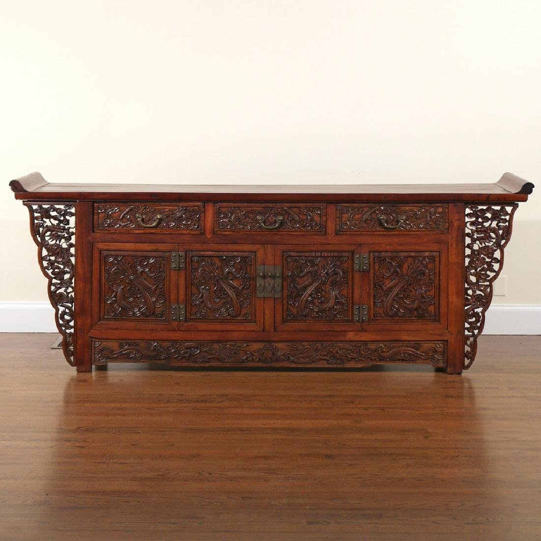 CHINESE HARDWOOD CARVED COFFER (LIANSANCHU)