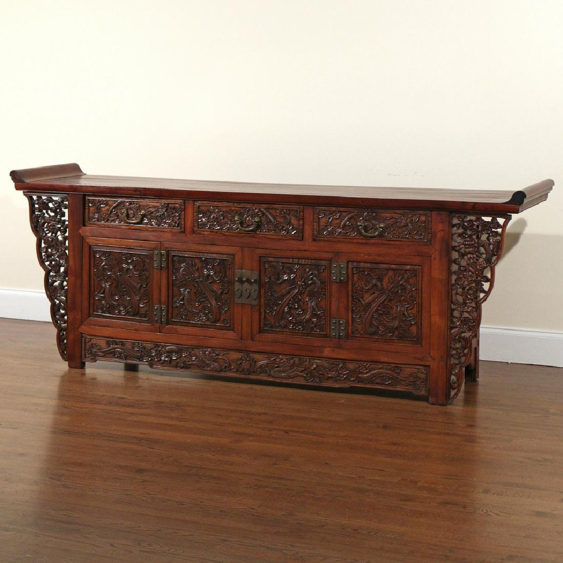 CHINESE HARDWOOD CARVED COFFER (LIANSANCHU) - 2