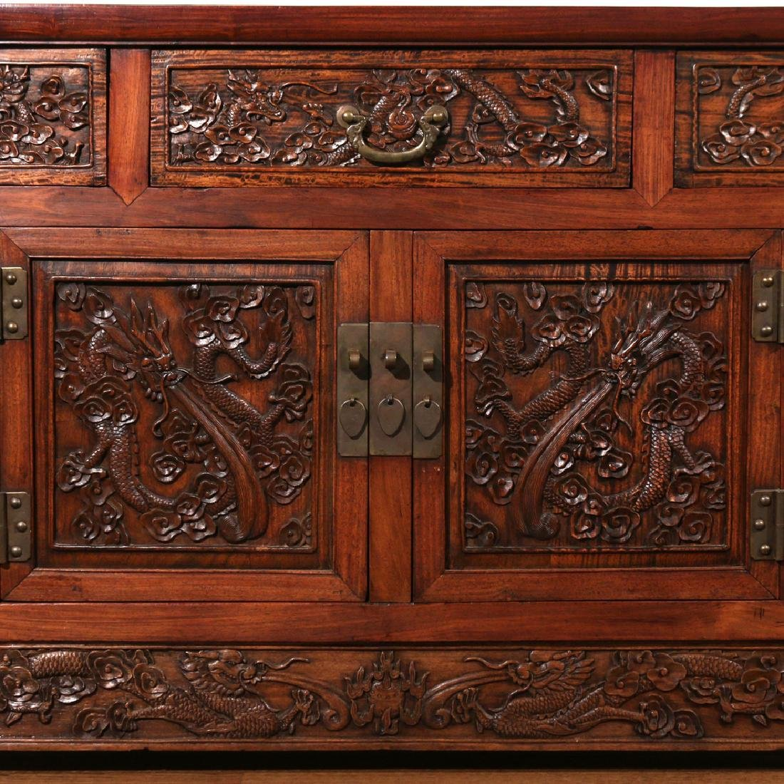 CHINESE HARDWOOD CARVED COFFER (LIANSANCHU) - 4