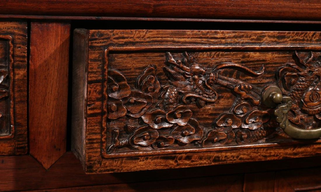 CHINESE HARDWOOD CARVED COFFER (LIANSANCHU) - 6