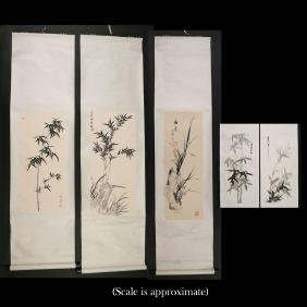 (5pc) CONTEMPORARY CHINESE SCROLL PAINTINGS