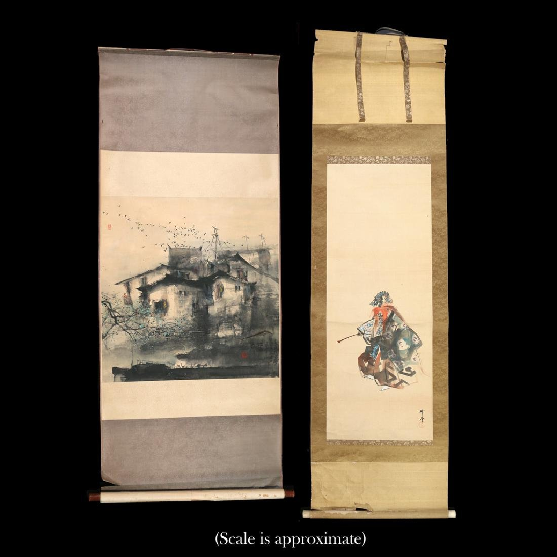 (2pc) ANTIQUE CHINESE SCROLL PAINTINGS