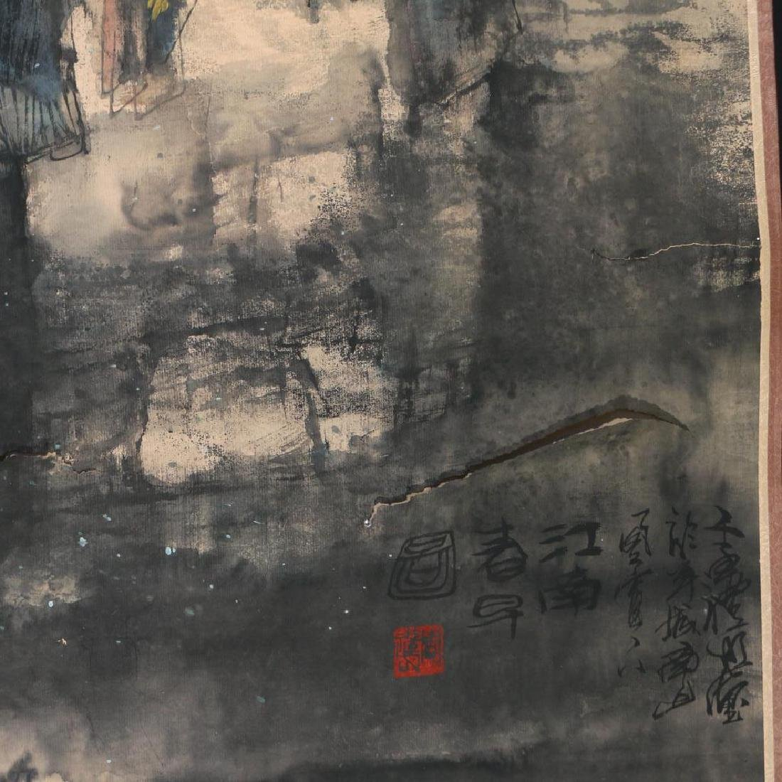 (2pc) ANTIQUE CHINESE SCROLL PAINTINGS - 7