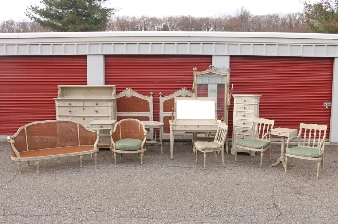 (15pc) FRENCH CARVED & PAINTED BEDROOM SUITE