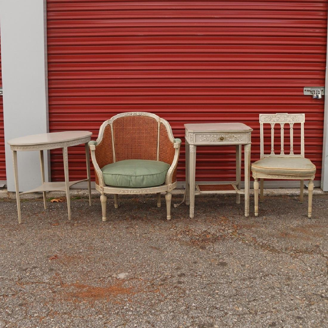 (15pc) FRENCH CARVED & PAINTED BEDROOM SUITE - 4