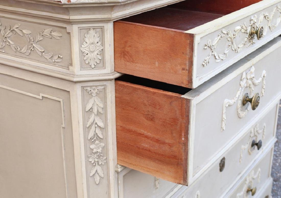 (15pc) FRENCH CARVED & PAINTED BEDROOM SUITE - 7