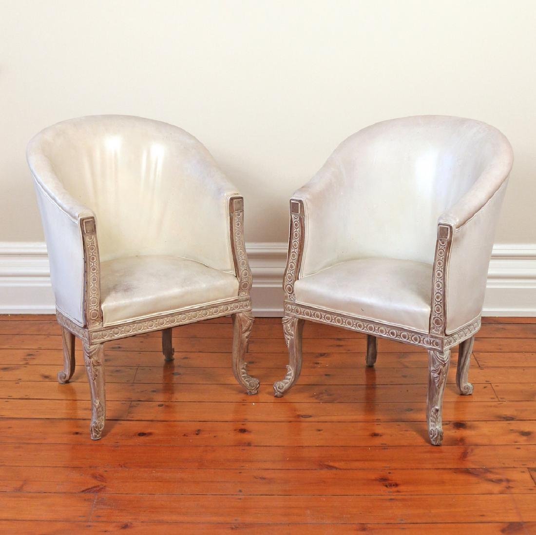 PAIR CARVED CONTINENTAL TUB CHAIRS