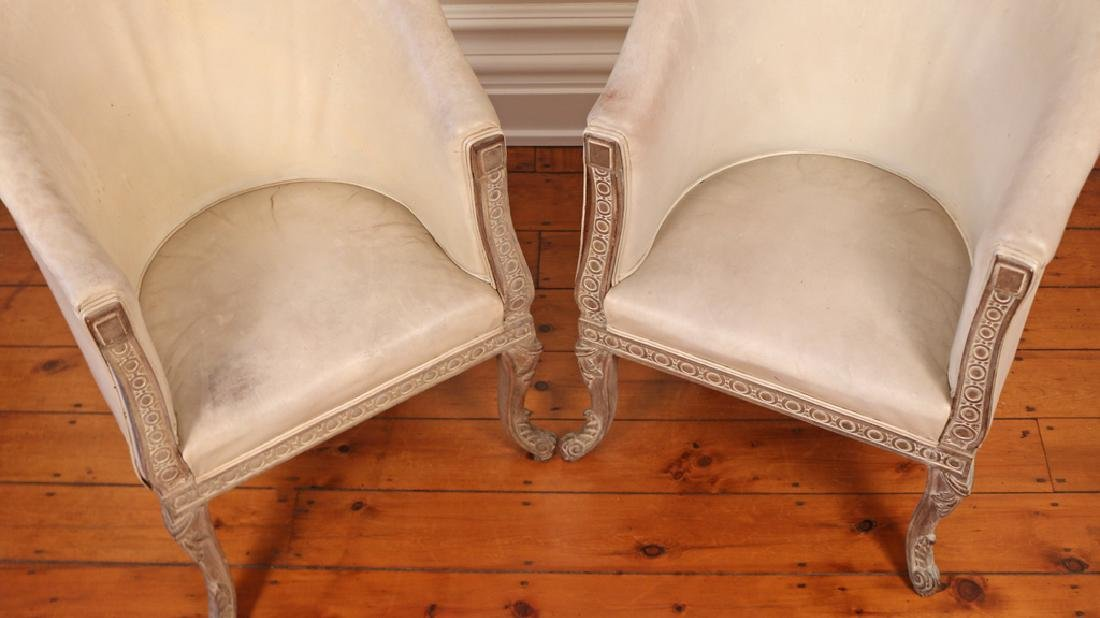 PAIR CARVED CONTINENTAL TUB CHAIRS - 5