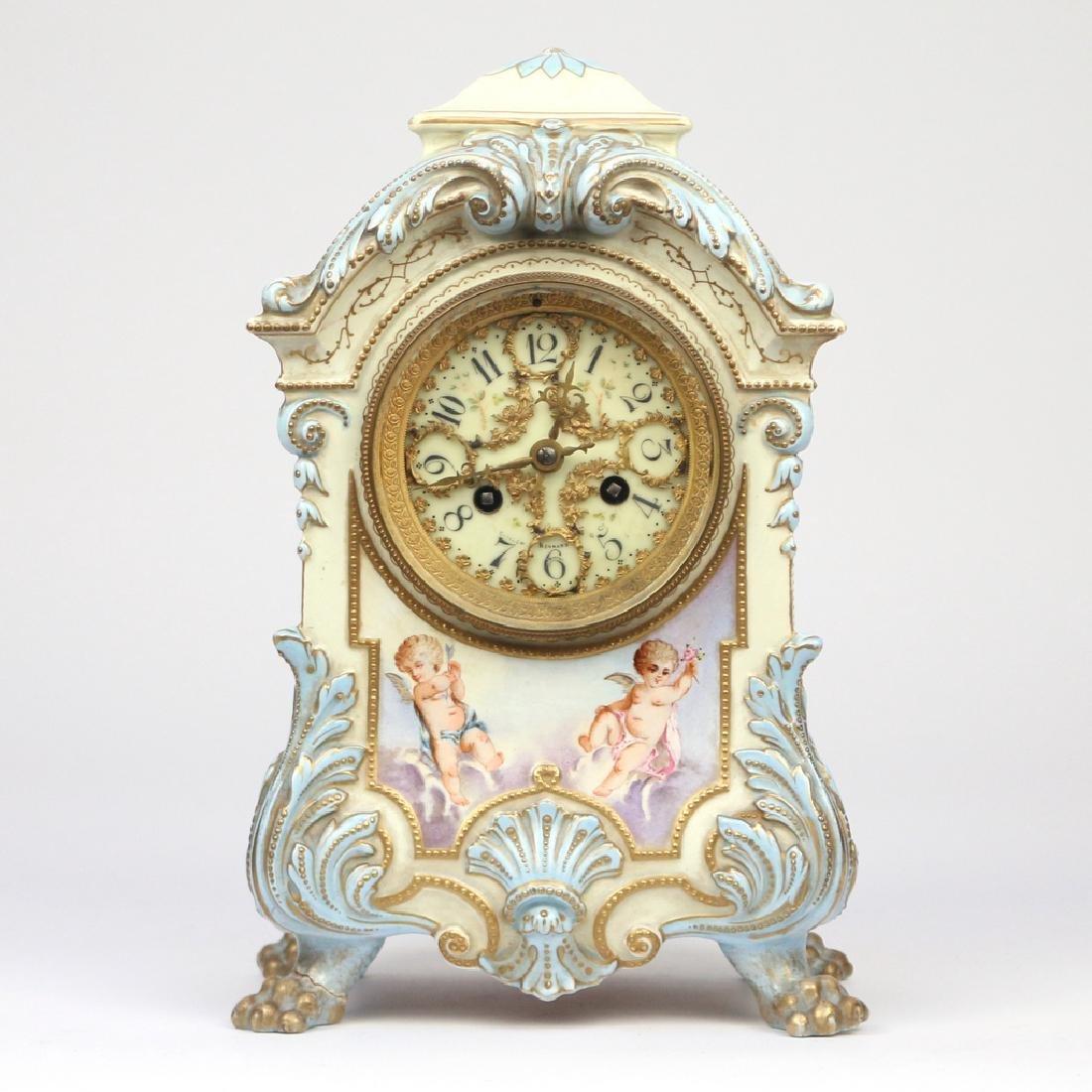 JAPY FRERES ROYAL BONN PORCELAIN MANTEL CLOCK