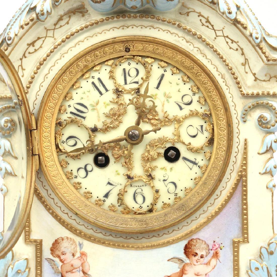 JAPY FRERES ROYAL BONN PORCELAIN MANTEL CLOCK - 4