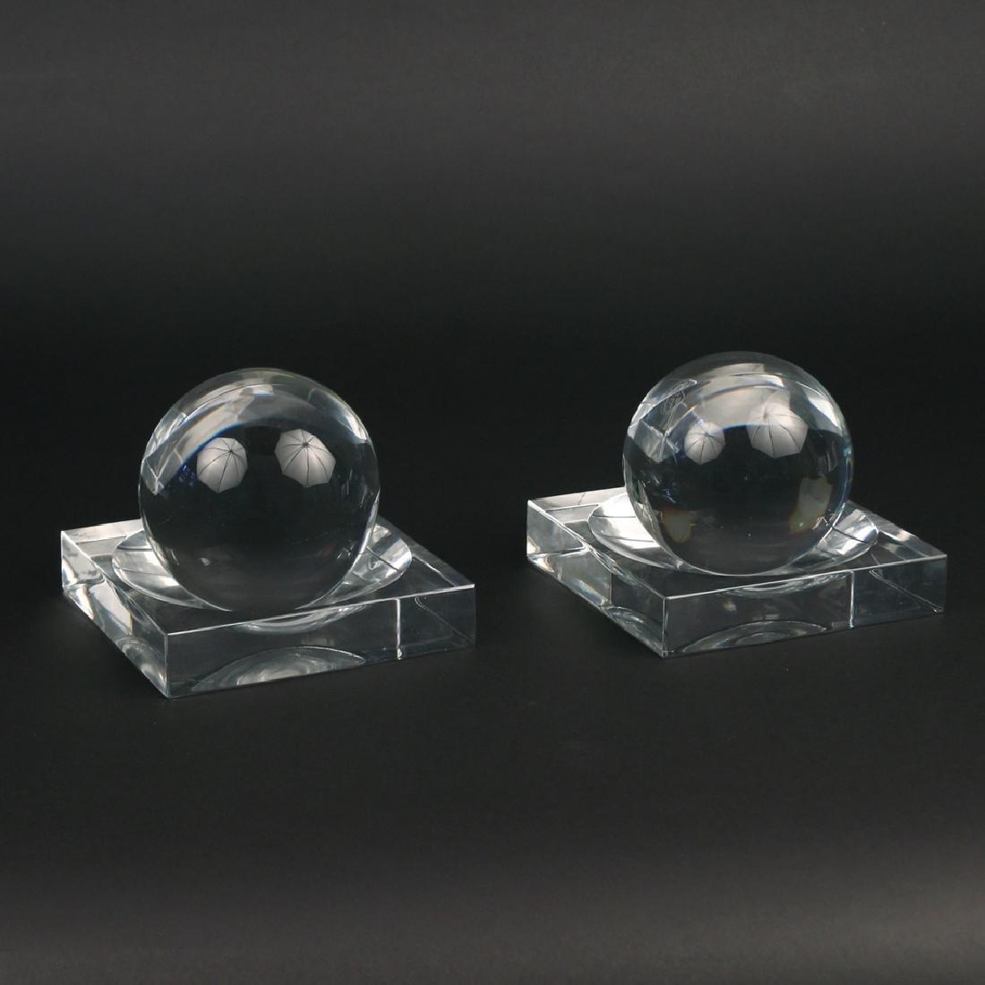 (4pc) PAIR BACCARAT CRYSTAL BALLS