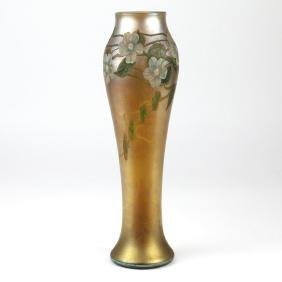 LOUIS COMFORT TIFFANY FAVRILE CAMEO GLASS VASE