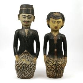 PAIR OF PRIMITIVE CARVED & LACQUERED FIGURES