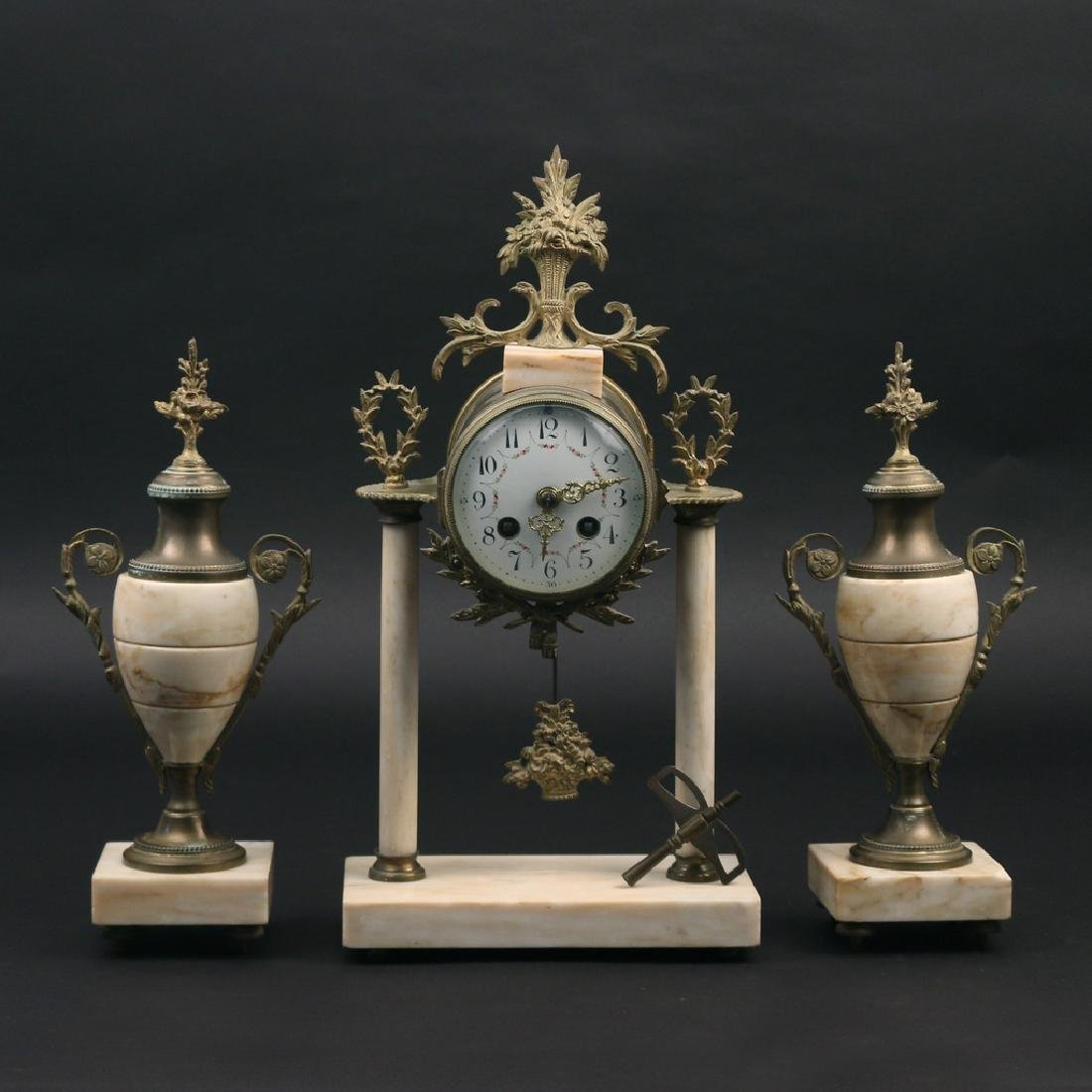 (3pc) FRENCH CLOCK GARNITURE