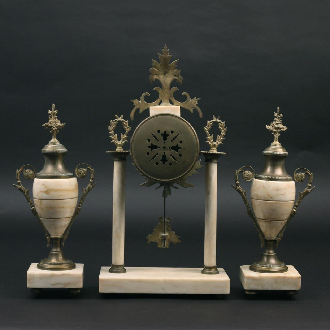 (3pc) FRENCH CLOCK GARNITURE - 2